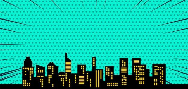 Fondo de semitono comc con silueta de ciudad