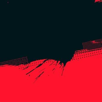 Fondo de semitono grunge rojo y negro