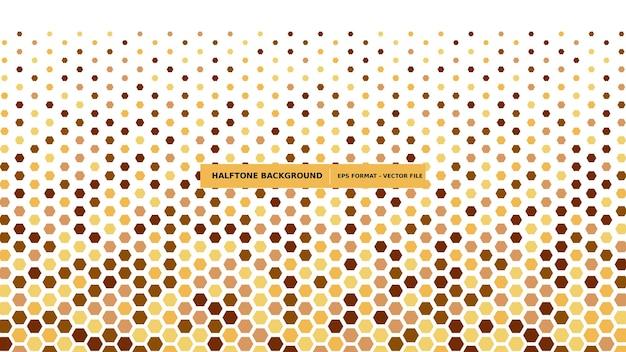 Fondo de semitono hexagonal en color marrón