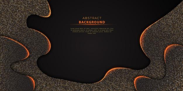 Fondo de semitono negro abstracto con textura con brillo dorado