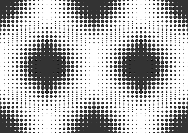 Fondo de semitono de puntos blancos y negros abstractos, diseño de fondo de semitono
