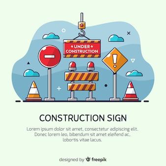 Fondo señal en construcción dibujado a mano