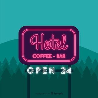 Fondo señal de neón de hotel