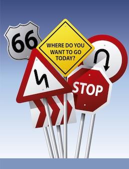 Fondo con señales de tráfico