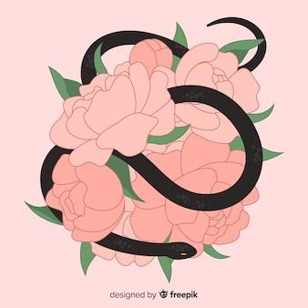 Fondo serpiente dibujada a mano con flores