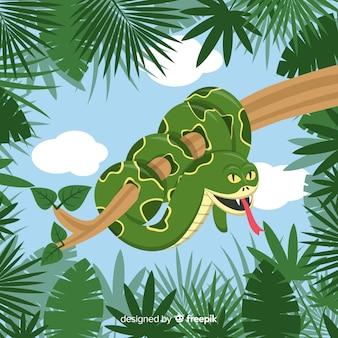 Fondo de serpiente en diseño plano