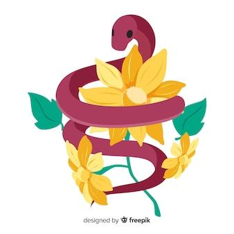 Fondo de serpiente con flores en 2d