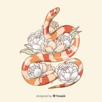Fondo serpiente con flores dibujada a mano