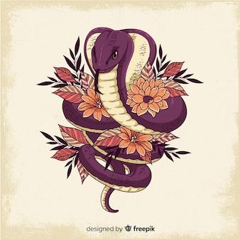Fondo serpiente con flores dibujado a mano