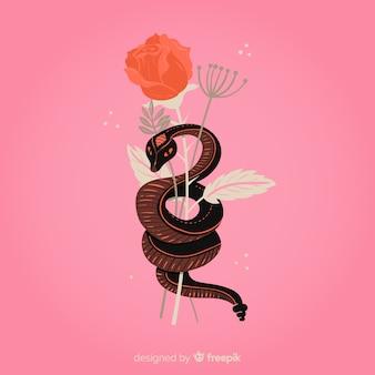 Fondo de serpiente con flores dibujado a mano