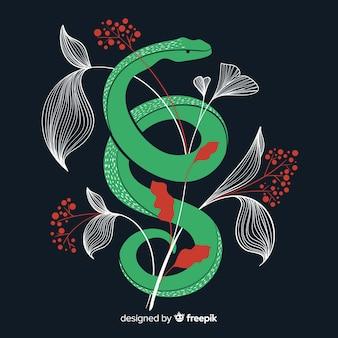 Fondo serpiente con hojas plana