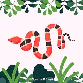 Fondo serpiente a rayas plana