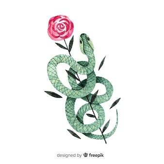 Fondo serpiente con rosa dibujada a mano