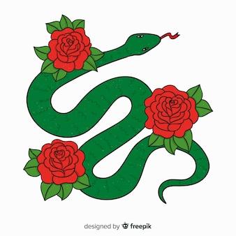 Fondo serpiente con rosas dibujada a mano