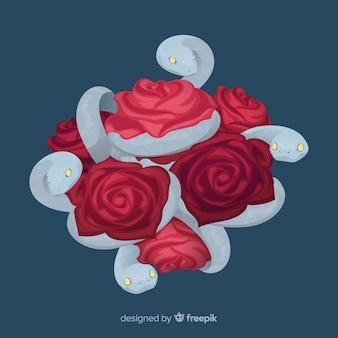 Fondo serpientes con rosas dibujada a mano