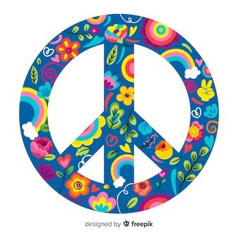 Fondo signo de la paz dibujado a mano