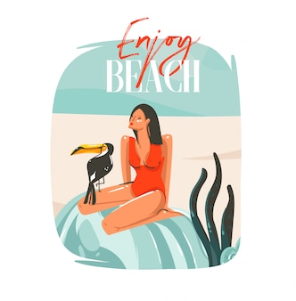 Fondo de signo de plantilla de ilustraciones gráficas de horario de verano de dibujos animados abstractos dibujados a mano con chica, relajante en la escena de la playa, pájaro tropical y tipografía enjoy beach sobre fondo blanco
