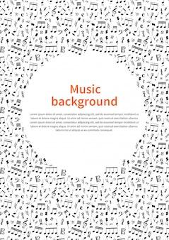 Fondo con signos de música y plantilla de texto