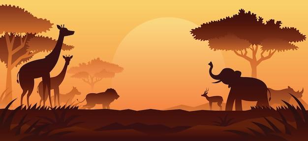 Fondo de silueta de animales de safari africano, atardecer o amanecer