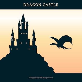 Fondo de silueta de castillo con dragón volando