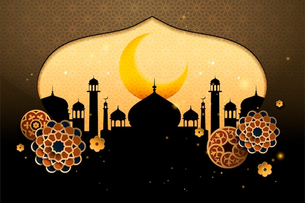 Fondo con silueta de cúpula de cebolla de mezquita y arte de papel floral s
