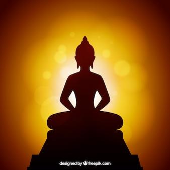 Fondo de silueta de estatua de budha