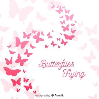 Fondo silueta de nube de mariposas