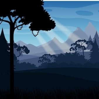 Fondo de silueta de paisaje de bosque
