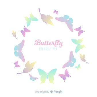 Fondo siluetas degradadas de nube de mariposas colores pastel