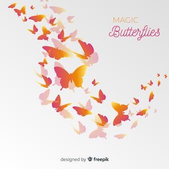 Fondo siluetas degradadas de nube de mariposas