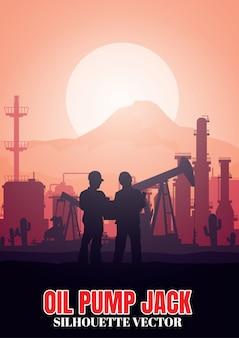 Fondo de siluetas de industria de plataforma petrolera.