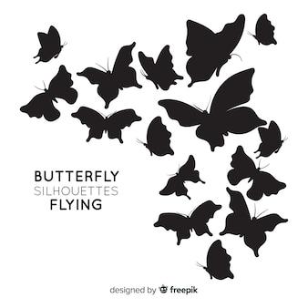 Fondo siluetas de mariposa