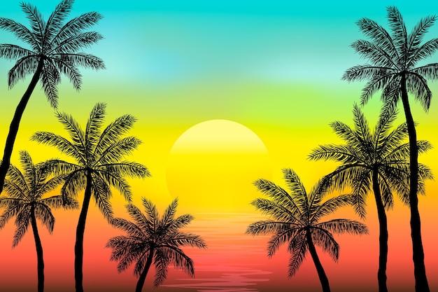 Fondo de siluetas de palmeras de verano
