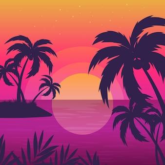 Fondo de siluetas de palmeras