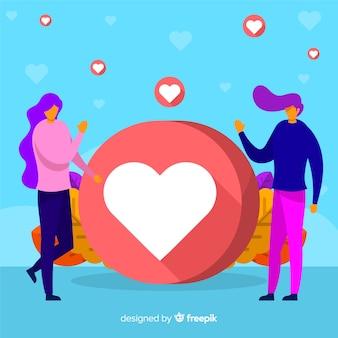 Fondo símbolo corazón gente joven