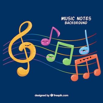Fondo de simpáticas notas musicales de colores