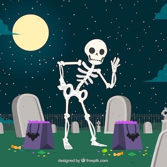 Fondo de simpático esqueleto en el cementerio