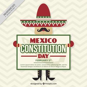 Fondo con simpático mexicano del día de la constitución de mexico