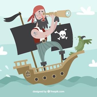 Fondo de simpático pirata con catalejo