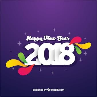 Fondo simple de año nuevo en púrpura con elementos coloridos