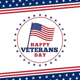 Fondo simple feliz del cartel de la insignia del logotipo del día de veteranos con el ornamento de la ilustración de la bandera de los eeuu