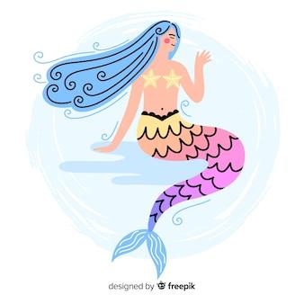 Fondo sirena colorida dibujada a mano