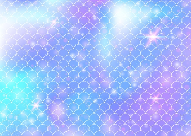 Fondo de sirena con fondo de escamas de arco iris kawaii. cola de pez con destellos mágicos y fondo de estrellas