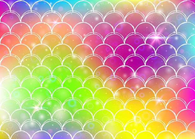 Fondo de sirena kawaii con patrón de escamas de princesa arcoiris. bandera de cola de pez con destellos mágicos y estrellas. invitación de fantasía marina para fiesta de chicas. telón de fondo de sirena kawaii fluorescente.