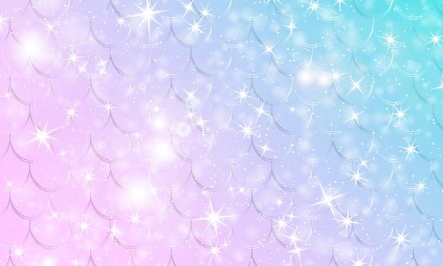 Fondo de sirena. universo de fantasía. patrón de unicornio. escamas de pescado. fondo de universo de fantasía de arco iris.