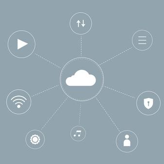 Fondo del sistema de red en la nube para publicación en redes sociales