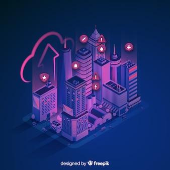 Fondo de smart city en isométrico