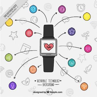 Fondo de smartwatch dibujado a mano