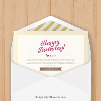 Fondo de sobre con felicitación de cumpleaños