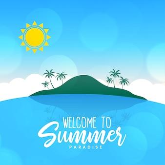 Fondo soleado de la escena de la isla del paisaje de la playa del verano